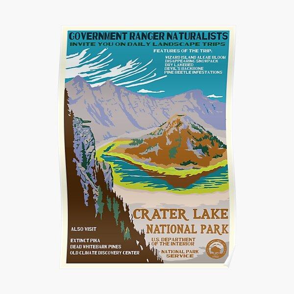 Cartel retro de la WPA del Parque Nacional Crater Lake reinventado para el futuro con el cambio climático Póster