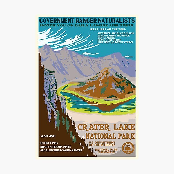 Retro WPA Poster of Crater Lake National Park Reimagined for the Future with Climate Change Photographic Print