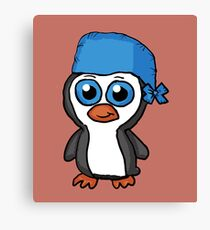 Blue Bandana Penguin Cartoon Canvas Print
