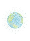 Earth Scribble in Blue and Green by jitterfly