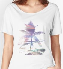 Rainbow Beach Colorful Palm Tree  Women's Relaxed Fit T-Shirt