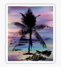 Rainbow Beach Palm Tree Image Sticker