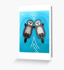Otters Holding Hands - Sea Otter Couple Greeting Card