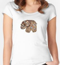 Patchwork Elephant Women's Fitted Scoop T-Shirt