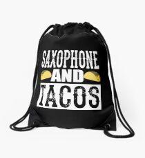 Saxophone and Tacos Funny Taco Band Drawstring Bag