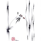 Best of Friends - Sumie ink brush pen ladybug friendship painting by Rebecca Rees