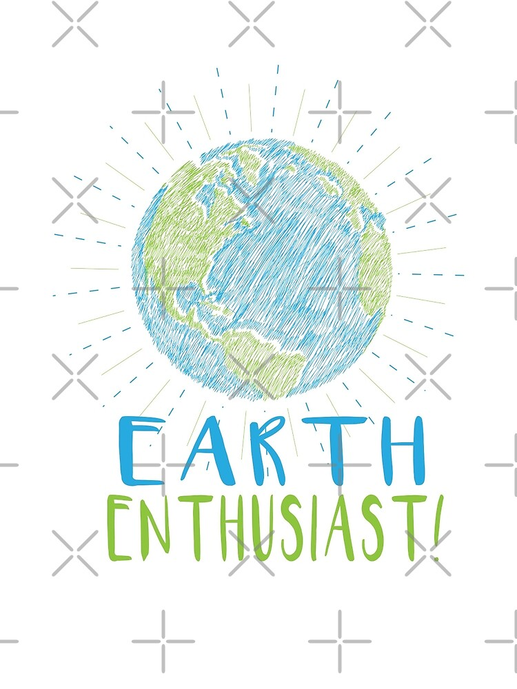 Earth Enthusiast - Earth Scribble Art in blue and green by jitterfly