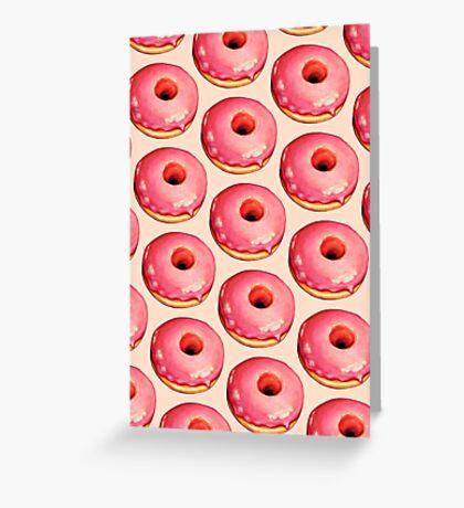 Strawberry Donut Pattern Greeting Card