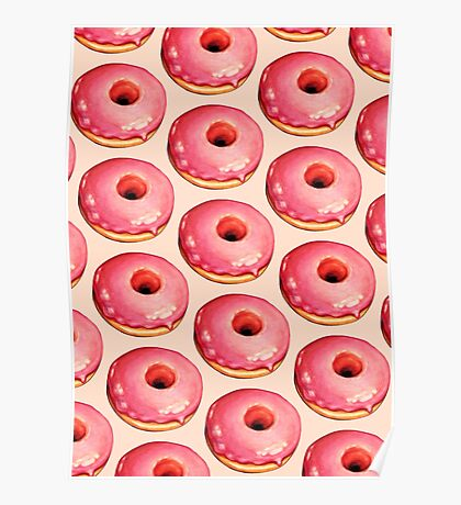 Strawberry Donut Pattern Poster