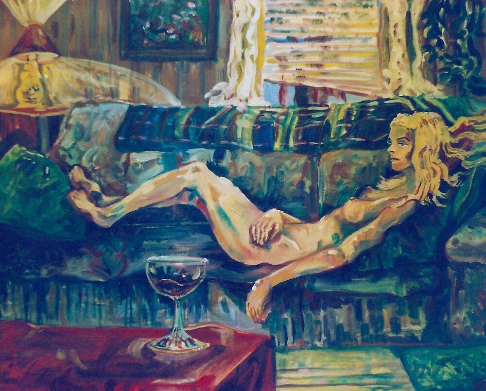 Reclining Female Nude (Oils)- by Robert Dye
