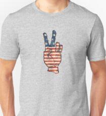 USA Flag Peace Hand Unisex T-Shirt