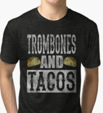 Trombones and Tacos Funny Taco Distressed Tri-blend T-Shirt
