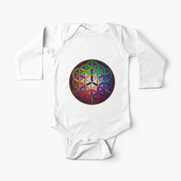 flower of life (spectral) Long Sleeve Baby One-Piece