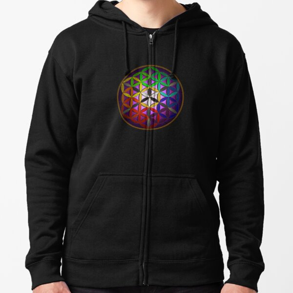 flower of life (spectral) Zipped Hoodie