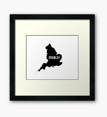 Crawley, West Sussex England UK Silhouette Map Framed Print