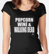 POPCORN WINE & WALKING DEAD Women's Fitted Scoop T-Shirt