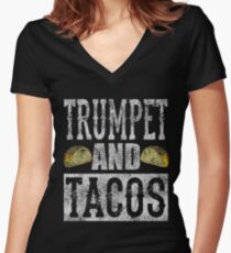 Trumpet and Tacos Funny Taco Band Distressed Women's Fitted V-Neck T-Shirt
