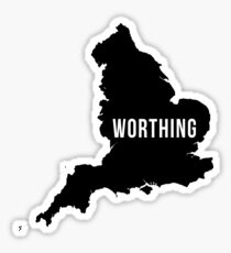 Worthing, West Sussex England UK Silhouette Map Sticker