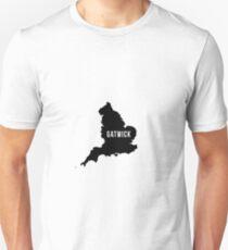 Gatwick, West Sussex England UK Silhouette Map Unisex T-Shirt