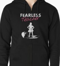 Sudadera con capucha y cremallera Fearless Girl - TEACHER- rosa