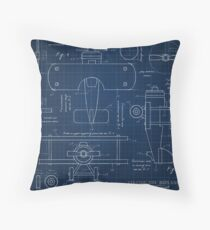 Toy Airplane Blueprint Throw Pillow
