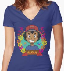 Welcome to Alola Women's Fitted V-Neck T-Shirt
