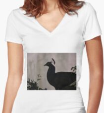Peacock Silhouette Women's Fitted V-Neck T-Shirt
