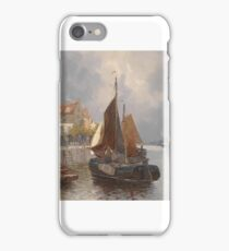 Georg Fischhof (ca )-'Dutch harbor view'-oil on canvas iPhone Case/Skin