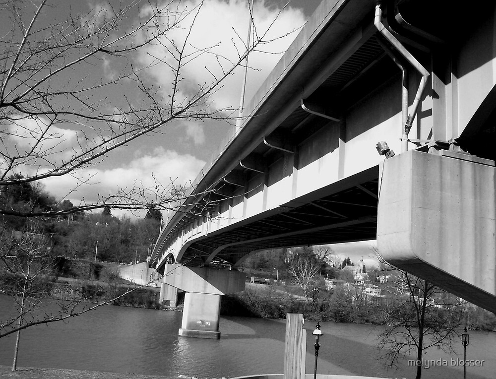 west over bridge B&W by melynda blosser
