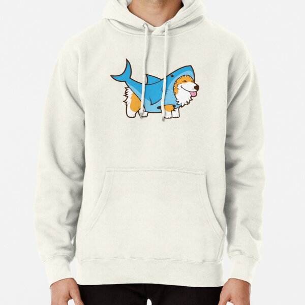 Corgi In a Shark Suit Pullover Hoodie