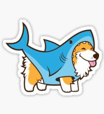Corgi In a Shark Suit Sticker