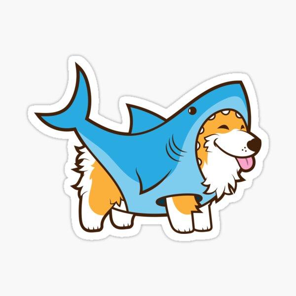 Corgi In a Shark Suit Sticker