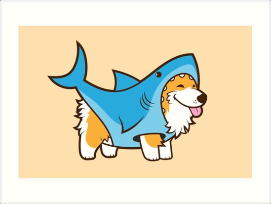 Corgi In a Shark Suit by Jennifer Smith
