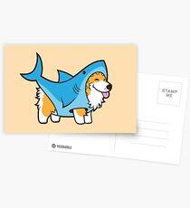 Postales Corgi en un traje de tiburón