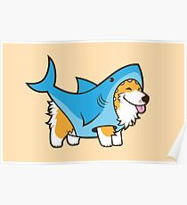 Corgi in einem Haifischanzug Poster