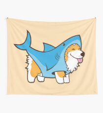 Corgi In a Shark Suit Wall Tapestry