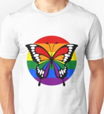 Rainbow Flag Stripes Butterfly Silhouette Button Unisex T-Shirt
