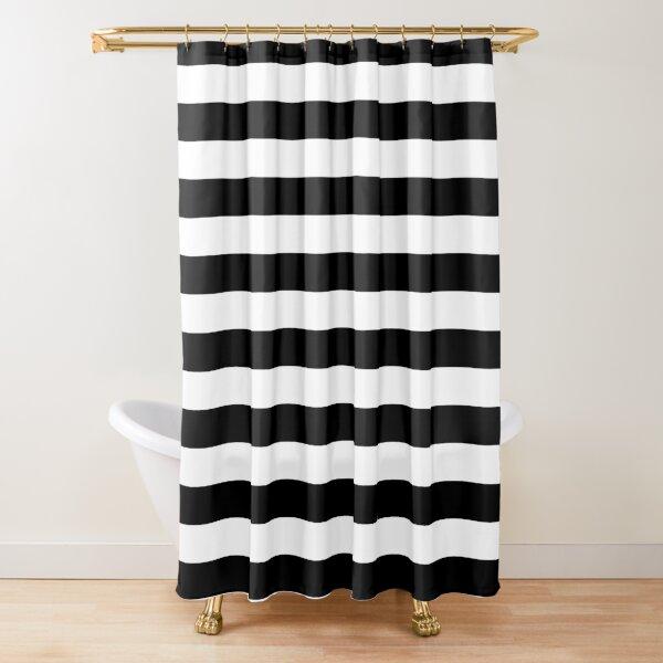 Black and White Jumbo Beach House Stripes Shower Curtain