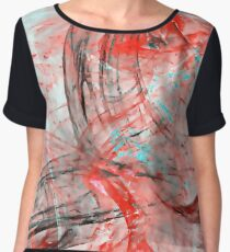 Abstract Red Blue Swirl Women's Chiffon Top