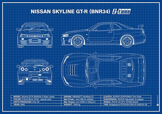 Blueprint Nissan Skyline Gt R R34 Z Tune Blue Poster By M Arts