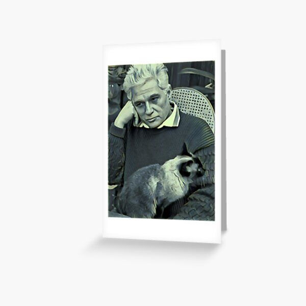 Derrida and Cat - stylized Greeting Card