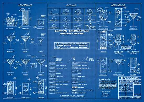 Cocktail chart blueprint posters by muharko redbubble cocktail chart blueprint by muharko malvernweather Choice Image
