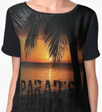 Paradise Found Tropical Palm Tree Orange Silhouette Graphic Print Women's Chiffon Top