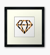 Tiger Diamond on White Framed Print