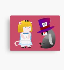 Meow Alice and Penguin Hatter  Canvas Print