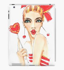 Beauty fashion model girl eating colourful lollipop. iPad Case/Skin