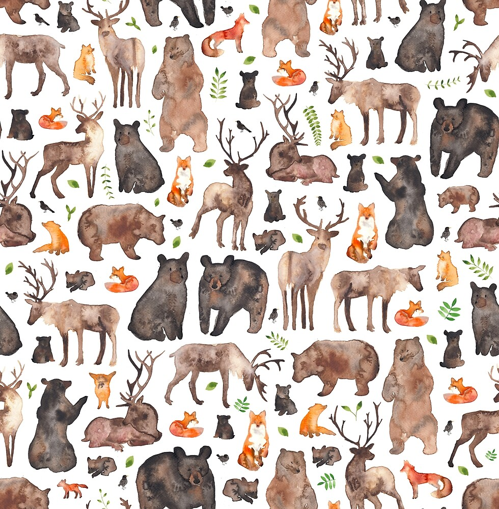 Woodland Animals by Elena  O'Neill