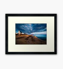 sunset and turquoise ocean Framed Print