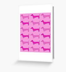 Dachshund Print PINK Greeting Card