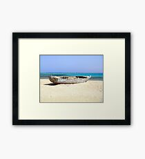 Wreck of Old Fishing Boat on Remote Desert Island Beach Framed Print